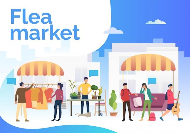 Блошиный рынок надписи, люди, продающие одежду и растения Бесплатные векторы