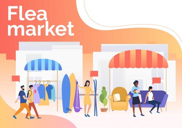 Блошиный рынок надписи, люди, продающие одежду и лыжи на открытом воздухе Бесплатные векторы