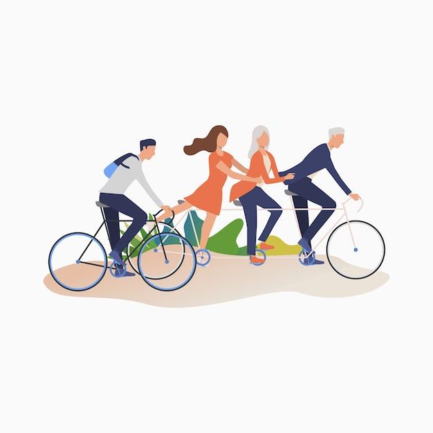 サイクリングを楽しんでいる友人 無料ベクター