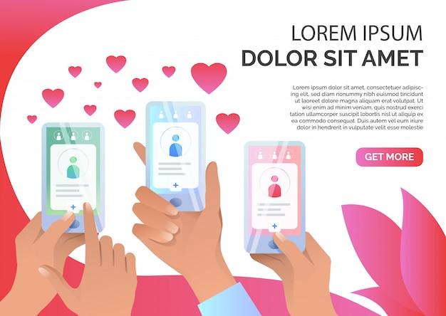 Руки держат смартфоны с приложением онлайн знакомств Бесплатные векторы