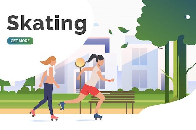 スケートレタリング、遠くの建物がある公園でスケーターの女性 無料ベクター