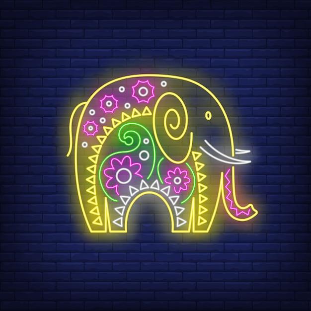 インド象ネオンサインの装飾 無料ベクター