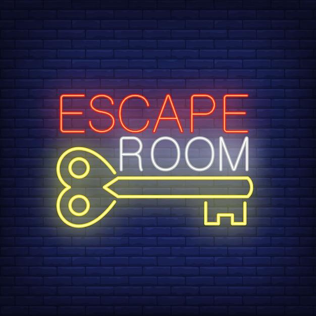 脱出部屋のネオンサイン。ヴィンテージのキーとレンガの壁にテキスト。輝くバナーや看板の要素。 無料ベクター
