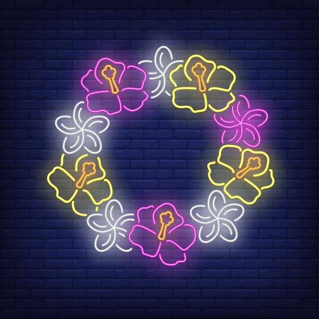 花の花輪ネオンサイン。ピンクと黄色のハイビスカスの輪。 無料ベクター