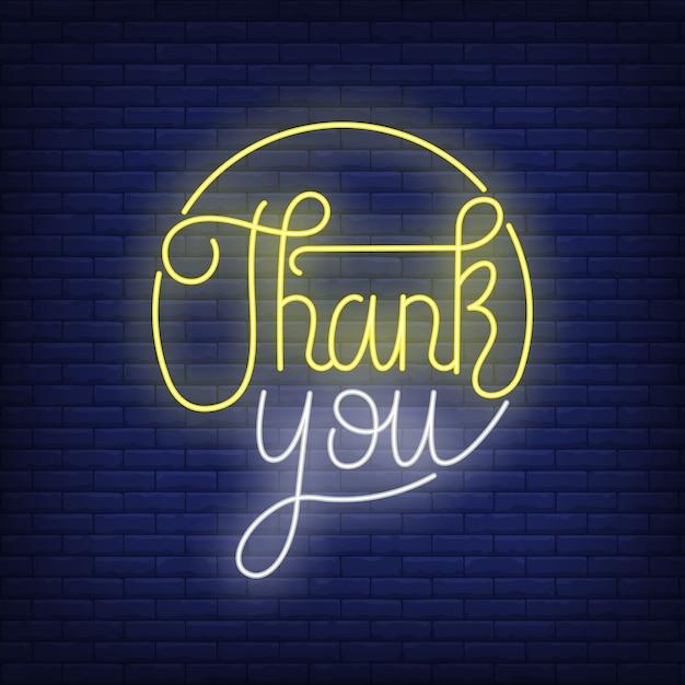 Спасибо, неоновая надпись в кругу. день благодарения. Бесплатные векторы