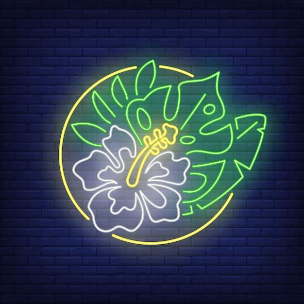 Тропический букет цветов неоновая вывеска. белый гибискус и зеленые листья в круге. Бесплатные векторы