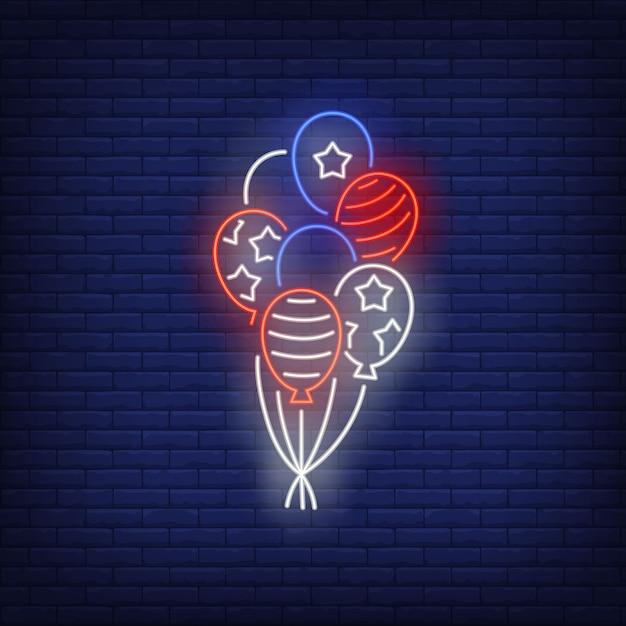 アメリカ国旗風船ネオンサイン。アメリカのシンボル、歴史 無料ベクター