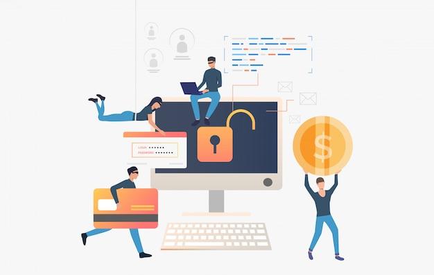 サイバー泥棒がコンピューター銀行のデータを盗む 無料ベクター