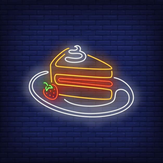ケーキスライスネオンサイン。 無料ベクター