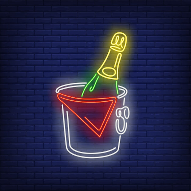 バケットネオンサインのシャンパンボトル 無料ベクター