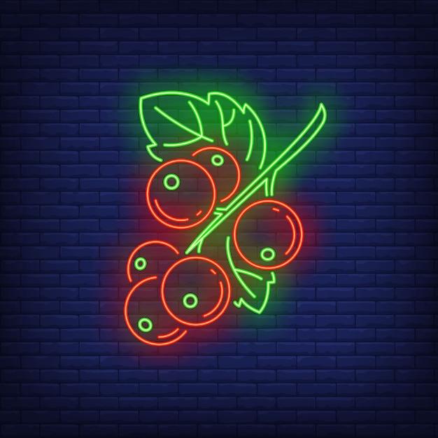 赤スグリの果実のネオンサイン。 無料ベクター