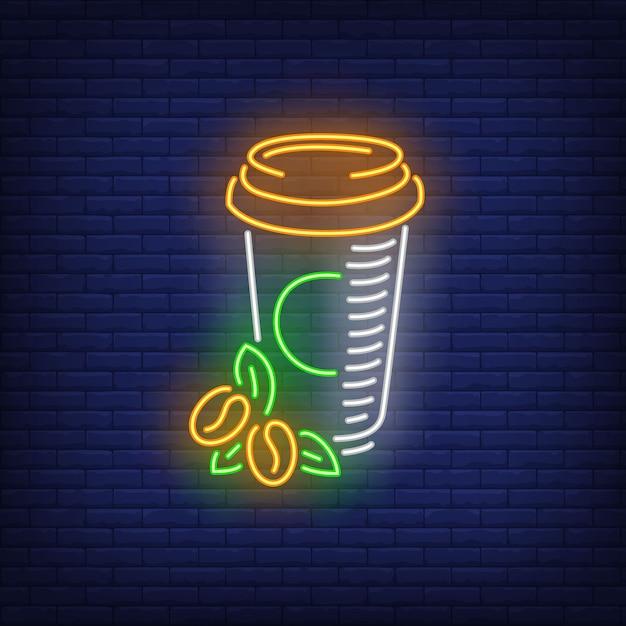 プラスチックカップネオンサインでテイクアウトコーヒー 無料ベクター