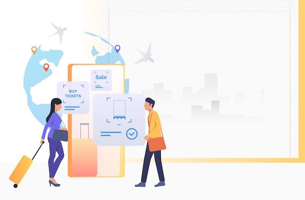 Пассажиры, идущие в аэропорту Бесплатные векторы