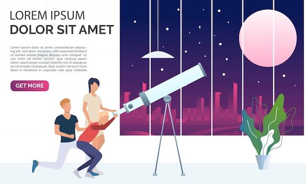 Люди смотрят луну и звезды через телескоп Бесплатные векторы