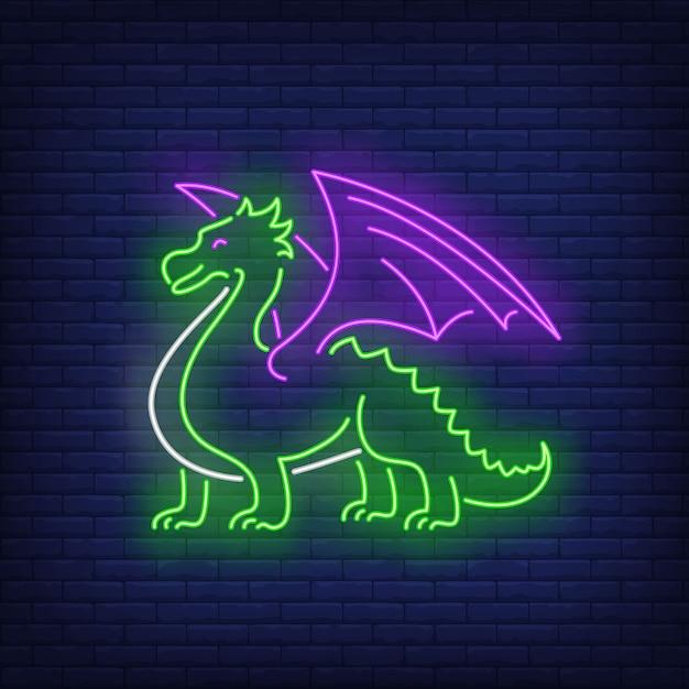 美しいドラゴンのネオンサイン 無料ベクター