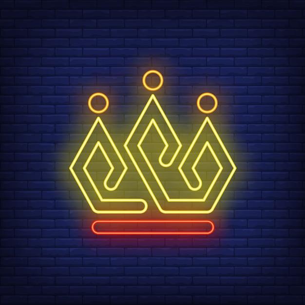 Яркая корона неоновая вывеска Бесплатные векторы