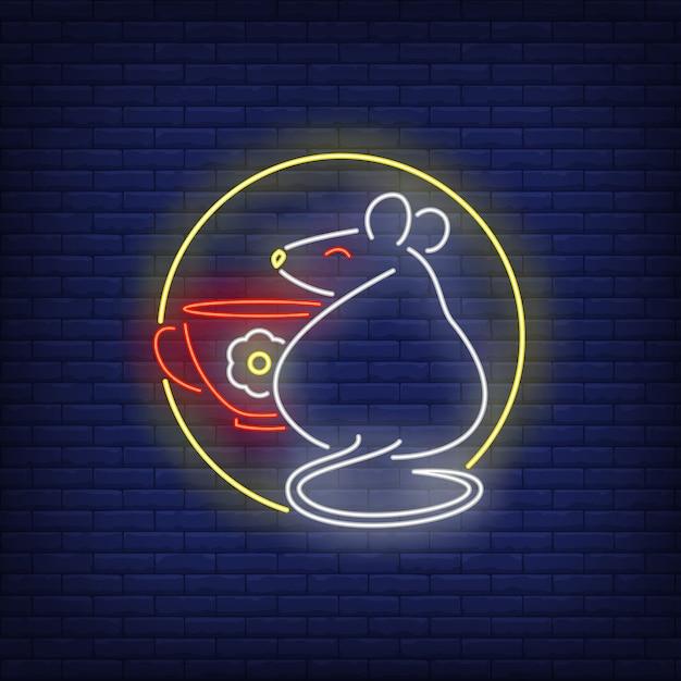 Крыса и чашка в круге неоновая вывеска Бесплатные векторы