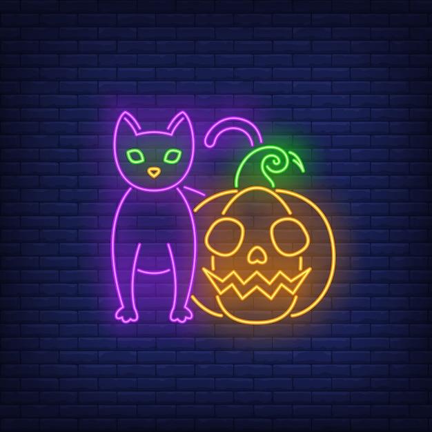 Страшно тыква и кошка неоновая вывеска Бесплатные векторы