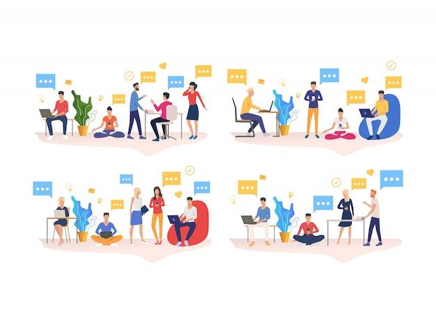 Множество людей, работающих в коворкинг-офисе Бесплатные векторы