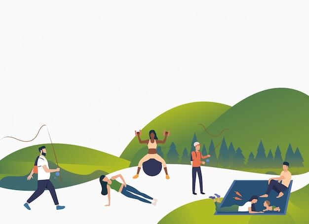 Активные люди отдыхают на свежем воздухе Бесплатные векторы