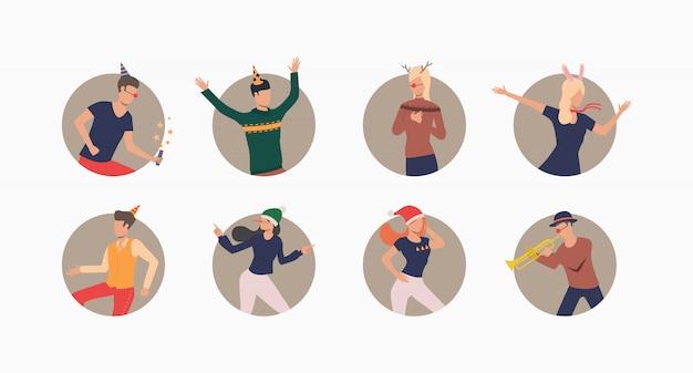 お祝い帽子で踊る人々セットバナー 無料ベクター