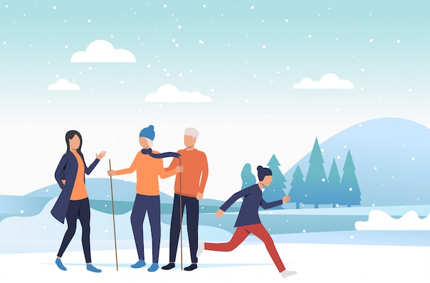 Семья наслаждается зимними развлечениями Бесплатные векторы