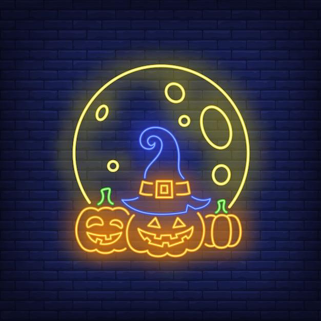 Луна и тыквы неоновая вывеска Бесплатные векторы