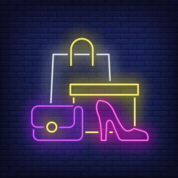 Сумка для покупок, коробка, женская обувь на каблуке неоновая вывеска Бесплатные векторы