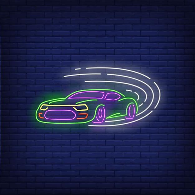 Спортивный автомобиль быстро неоновая вывеска Бесплатные векторы