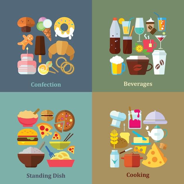 Коллекции продуктов питания фоны Бесплатные векторы