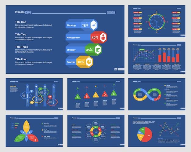 Девять бизнес-шаблонов слайдов Premium векторы
