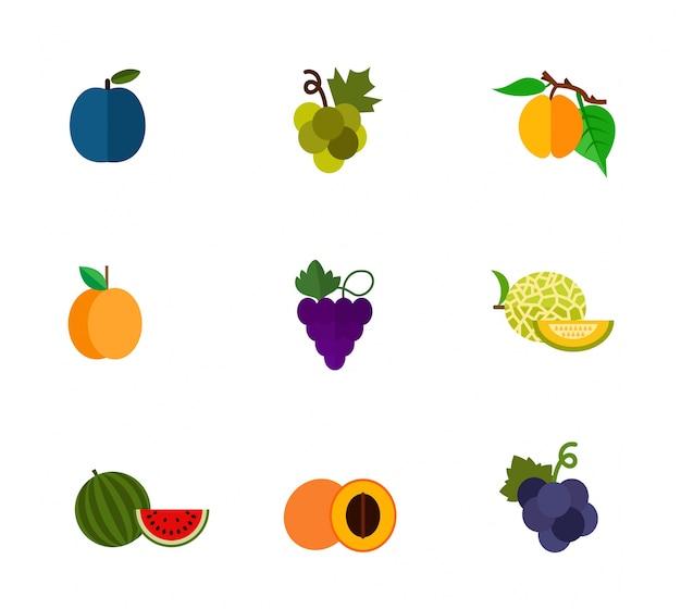 Набор иконок фруктов и ягод Бесплатные векторы