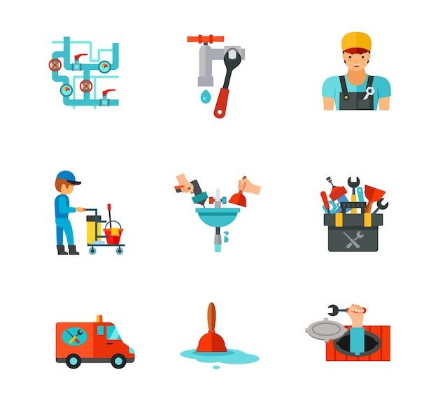 Набор иконок сантехников Бесплатные векторы