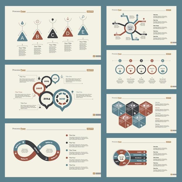 Набор семи шаблонов слайдов Бесплатные векторы