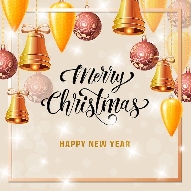Рождественская и новогодняя открытка с рамкой Бесплатные векторы