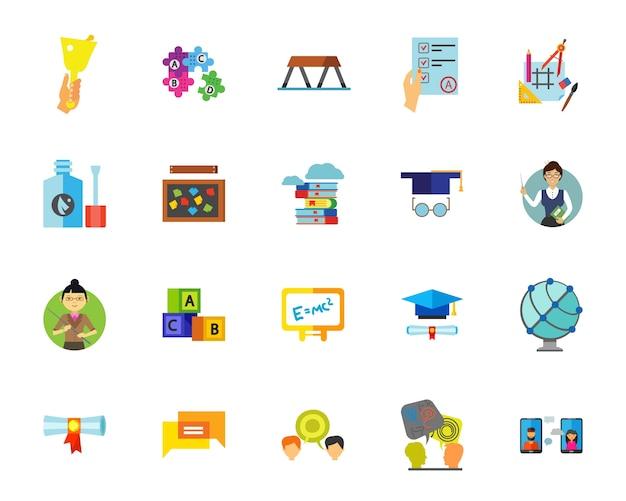 Набор значков школы Бесплатные векторы