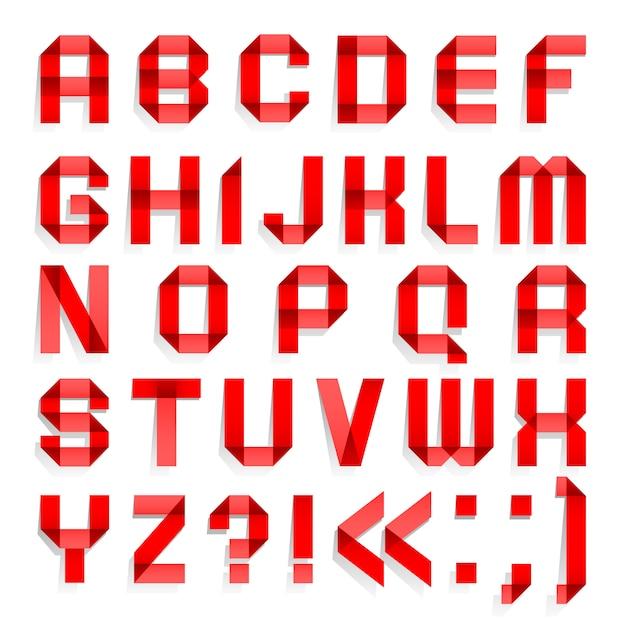 Алфавит сложенный из цветной бумаги, красные буквы Premium векторы