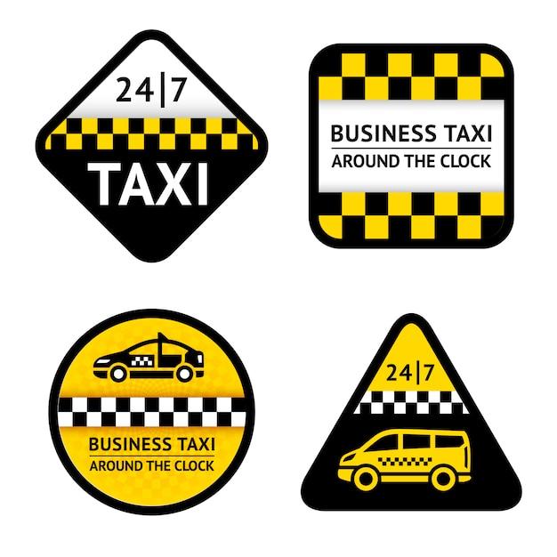 タクシー-ラベルを設定 Premiumベクター