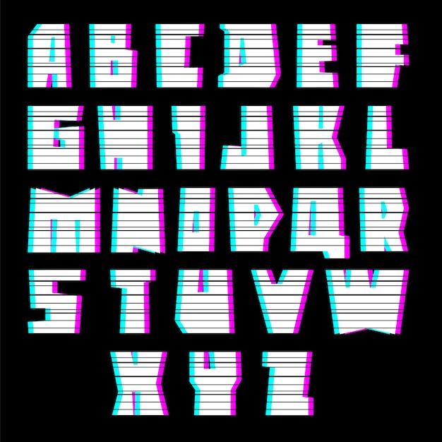 干渉、大文字のグリッチフォントアルファベット Premiumベクター