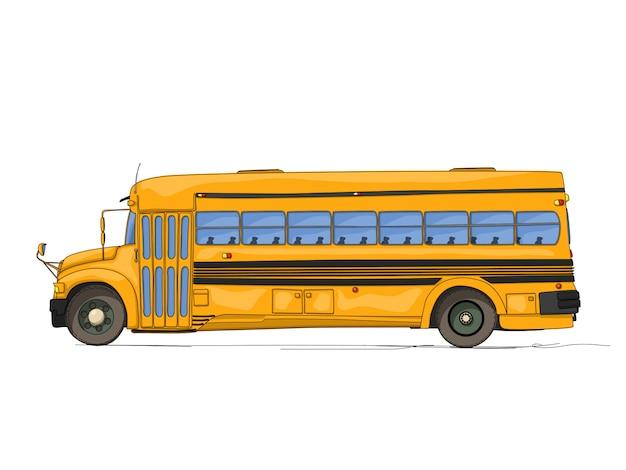 Мультфильм школьный автобус Premium векторы