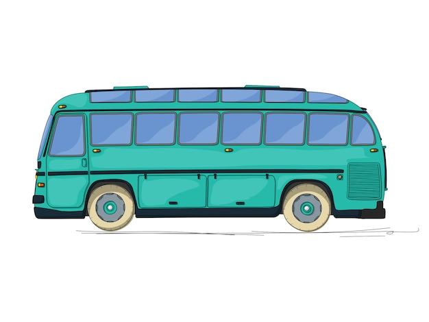 ビンテージバスの図 Premiumベクター