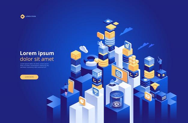 Абстрактная технология изометрии, концепция управления сетью данных Premium векторы