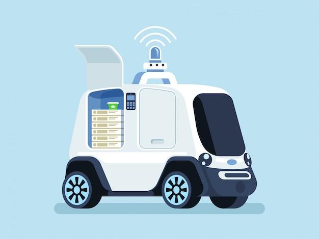 Самостоятельное транспортное средство для доставки пиццы Premium векторы