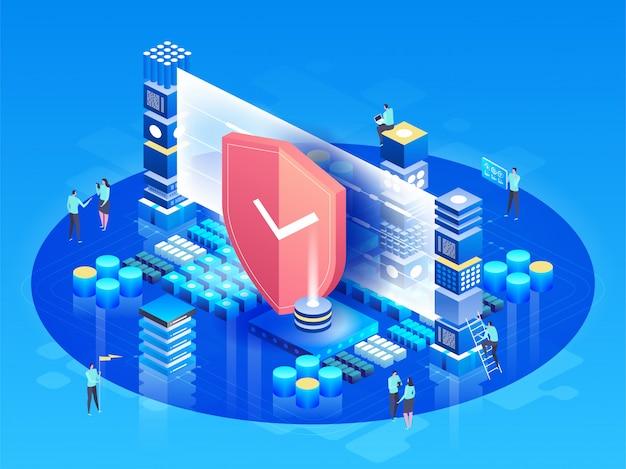 Изометрические вектор иллюстрация современные технологии, безопасность и защита данных, безопасность платежей Premium векторы