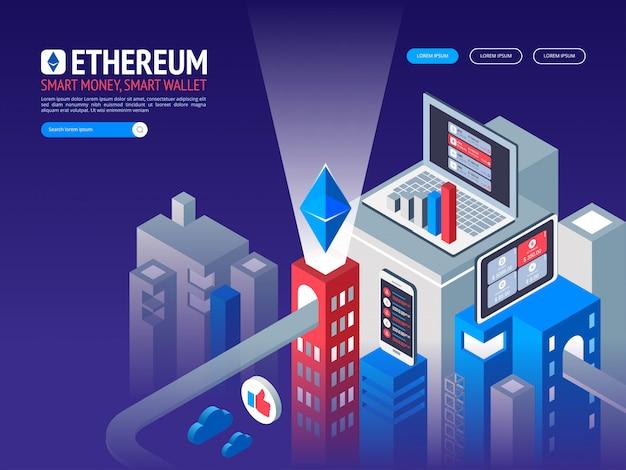 Эфириум цифровая валюта. футуристические цифровые деньги. изометрические технологии во всем мире концепция сети. Premium векторы