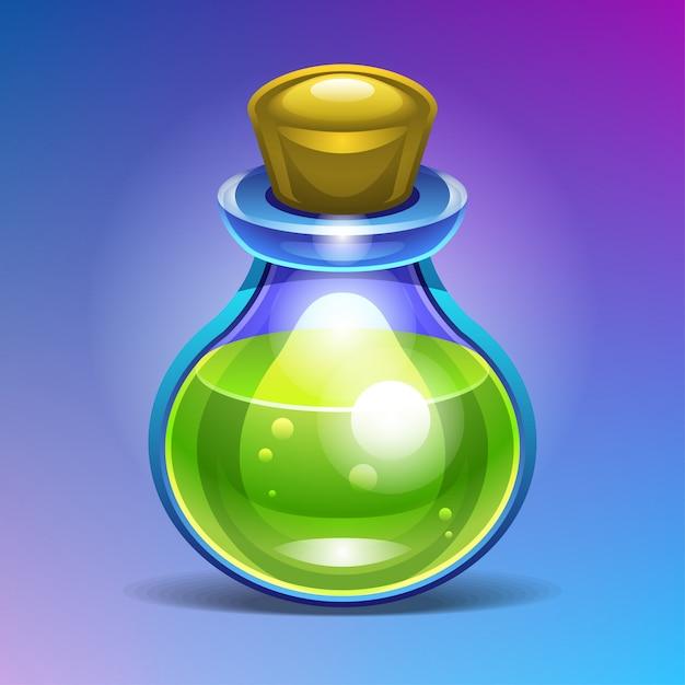 緑色の液体ポーションで満たされた化学ガラス瓶。 Premiumベクター