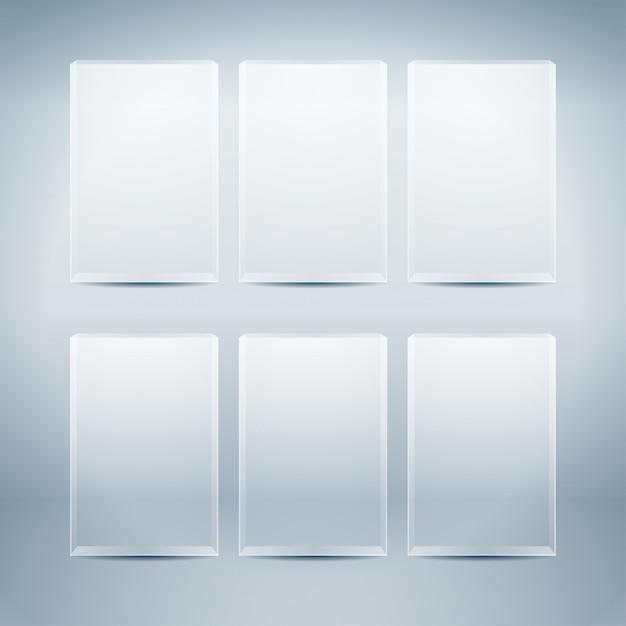Пустые стеклянные коробки Premium векторы
