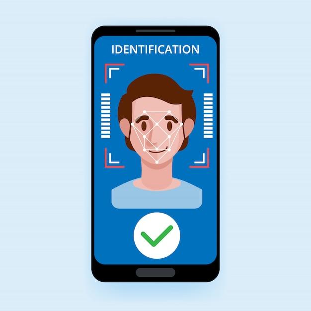 Система распознавания доступа система контроля доступа биометрическая идентификация Premium векторы