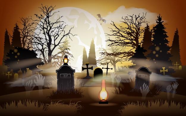 ハロウィーンの背景。墓地。墓地。 Premiumベクター