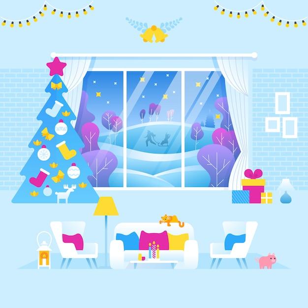 Интерьер гостиной оформлен на рождество и новый год Premium векторы